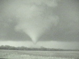Video capture of the tornado illuminated by lightning.