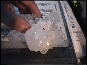 Hail over 4 inches (point to point) near Brinkman.