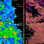 Radar capture while tornado was in progress.  It was about midway through its life near Russell.